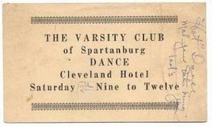 Varsity Club Dance Invite, Spartanburg, South Carolina, 1929