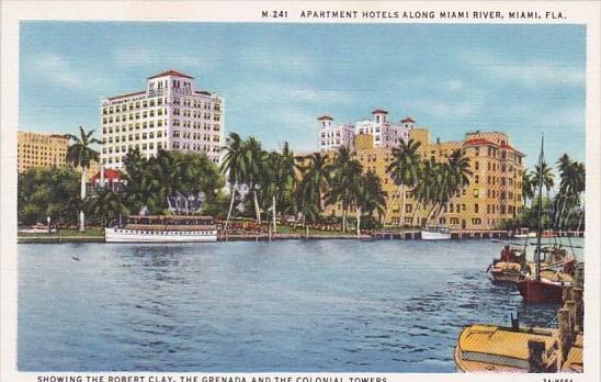 Florida Miami Apartment Hotels Along Miami River Showing The Robert Clay The ...