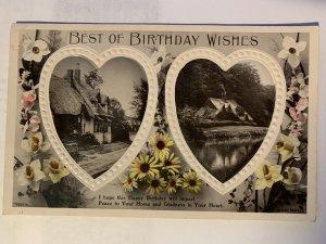 Embossed Photographed British Village Dwelling Birthday Post Card Used