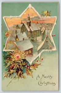Christmas~Star of David Panorama Holds City Skyline~Snow Border~Heather~G-A Art