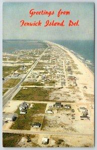 1980's GREETINGS FROM FENWICK ISLAND DELAWARE*ARIAL VIEW*BRUECKMANN PHOTO*UNUSED