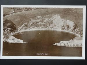 Dorset AERIAL POSTCARD of LULWORTH COVE - Old RP Postcard P7376