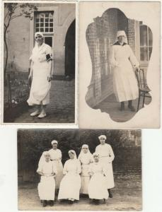 Inter-war real photo postcards Red Cross nurses x 3