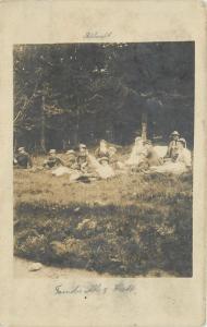 Zermatt Switzerland Young Folk Sit On Grass Bank~RPPC 1907 Hammermann-Jebweiler