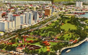Florida Miami Hotel Row Overlooking Bayfront Park 1948
