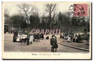 Paris (14) - A Montsouris- Park Allee-Old Child --Carte Postale