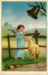 CPA Angel with a Lamb and a Bell ANGELS (777364)