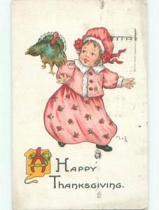 Pre-Linen Thanksgiving GIRL CHASED BY TURKEY AB4292