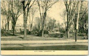 Cameron, Missouri Postcard CITY PARK Benches / Street View - 1916 MO Cancel