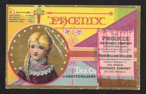 VICTORIAN TRADE CARD Phoenix Insurance Girl Graphics