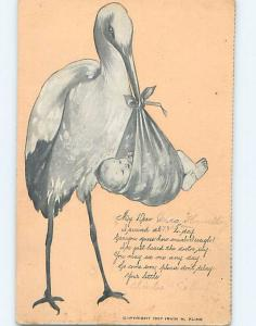 Pre-Linen STORK BIRD HOLDING INFANT BABY IN BEAK HL5496