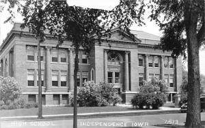 Independence Iowa~High School Building~Buchanan County~Car in Street~1950s RPPC