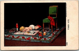 Vintage Comic Greetings Postcard TIRED OUT Baby / Book / Toys ULLMAN c1900s