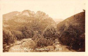 Seneca Rocks Pendleton Co West Virginia Scenic View Real Photo Postcard AA29182