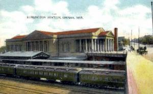 Burlington Station, Omaha, Nebraska, NE, USA Railroad Train Depot Postcard Po...