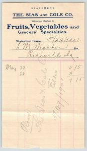 Waterloo IA~Paper Statement~Sias=Cole Fruits & Vegetables~Mosher Riceville 1901