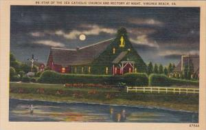 Virginia Virginia Beach Star Of The Sea Catholic Church And Rectory At Night