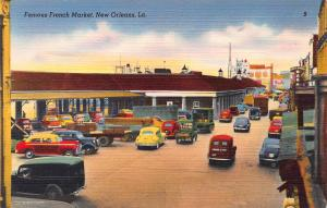 Famous French Market, New Orleans, Louisiana, Early Linen Postcard, Unused
