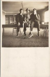 Two Men & Skeleton Unused Real Photo Postcard F9