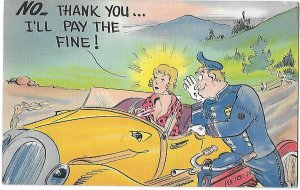 Policeman & Young Lady NO Thank You I'll Pay the Fine Henry W Longfellow Stamp