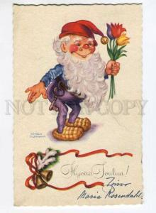 276567 NEW YEAR Funny GNOME w/ TULIPS by TILGMANN old PC