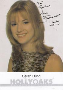 Sarah Dunn Hollyoaks TV Show Cast Card Official Hand Signed Photo
