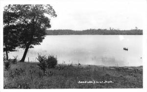 Irons Michigan~Sand Lake View~People in Canoe~Lake County~1940s RPPC-Postcard