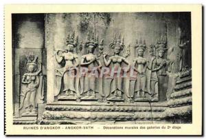 Postcard Ancient Ruins Cambodia Angkor D Angkor Vath Wall Decorations galleries
