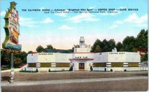 HOT SPRINGS NATIONAL PARK, AR The RAINBOW ROOM  c1940s Linen Roadside Postcard