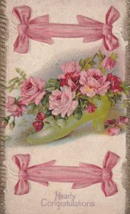 HEARTY CONGRATULATIONS, 1900-10s; Pink Ribbons & Pink & Red Roses