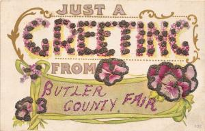 F22/ Butler County Fair Ohio Postcard c1910 Glitter Greetings from