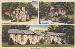 Zoders Court Motel Gatlinburg USA Tennessee Old Linen Postcard