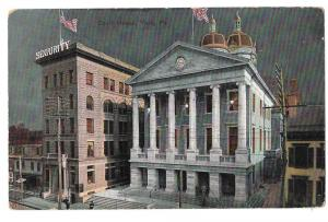York PA Court House Security Building Night Vintage Postcard