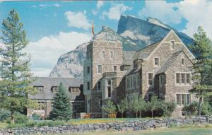 The Park Administration Building showing Mt. Rundle, BANFF, Alberta, Canada, ...