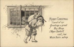 Christmas Kids Watch Santa Claus Thru Window - Black & White c1910 Postcard