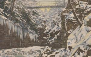Suspension Bridge in Winter - Watkins Glen State Park NY, New York - Linen