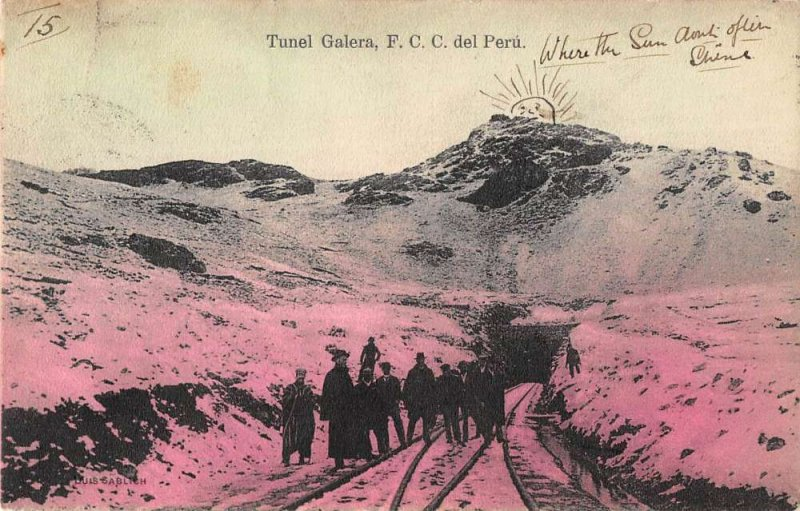 Ferrocarril Central del Peru Nebraska men at tunnel entrance antique pc ZD549724
