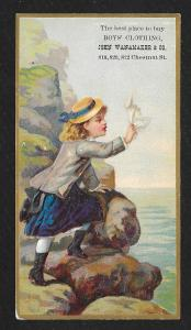 VICTORIAN TRADE CARD J Wanamaker & Co Boy's Clothiers