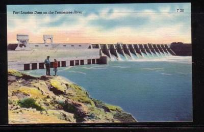 Tennessee colour PC Fort Loudon Dam on Tennessee River unused