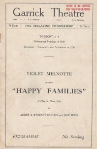 Happy Families Comedy Violet Melnotte Garrick London Theatre Programme