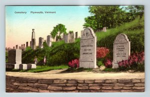 Plymouth VT Cemetery, Calvin Coolidge Tombstone, Vintage Vermont Postcard