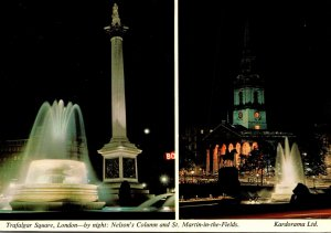 England London Trafalgar Square By Night Nelson's Column and St Martin I...