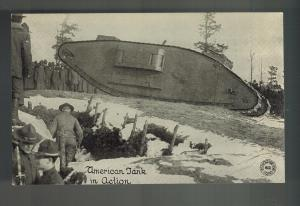 Mint WW 1 USA American Tank in Action Daily News War Pictures Postcard