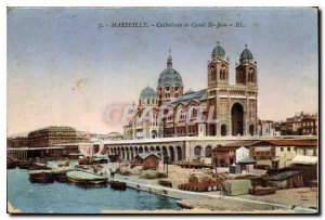 Marseille Old Postcard N D of the Cathedral Guard and Canal St John