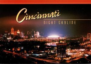 Ohio Cincinnati Skyline At Night