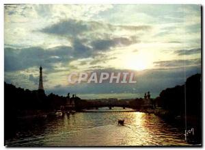 Modern Postcard Paris Sunset on the Seine Eiffel Tower