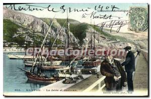 Old Postcard Menton Garavan and the Jetee