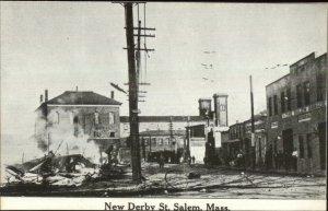 Salem MA Fire New Derby St. c1914 Postcard