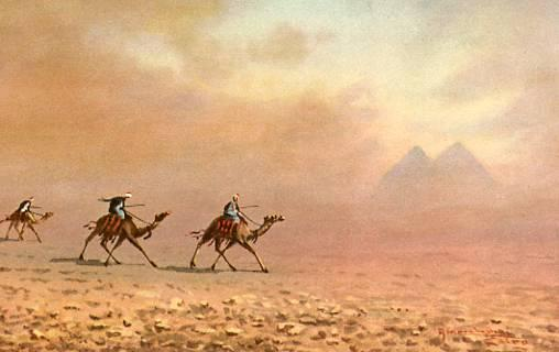 Africa - Egypt, Sandstorm near Pyramids    *Artist Signed: Marchettini