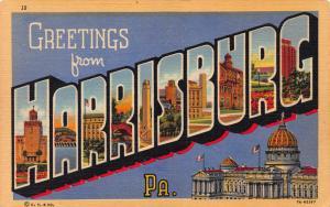 Greetings from Harrisburg, Pennsylvania, Early Postcard, Unused